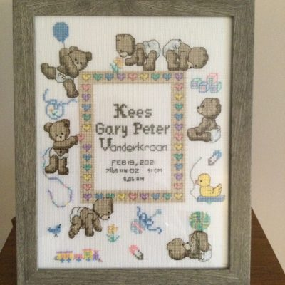 Anneke - A cross-stitched sampler she made for her great-grandson born in February 2021.