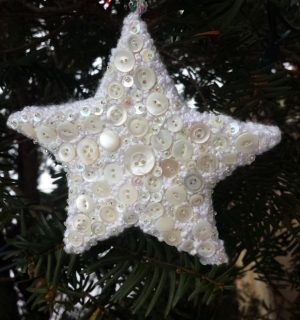 Linda's Mother of Pearl buttons, seed beads and french knots star ornament - Ornament Exchange